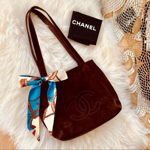 CHANEL 🌹 CC Logo Brown Suede Tote Bag Authentic